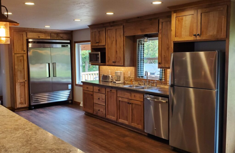 Guest kitchen at Sand Bay Lodge