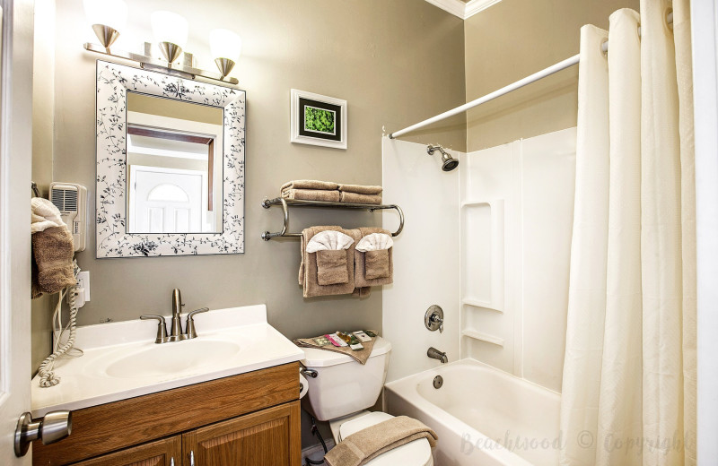 Guest bathroom at Beachwood Resort Condos.