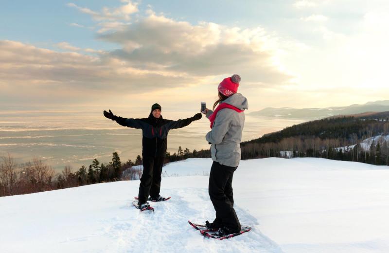 Snowshoeing at Fairmont Le Manoir Richelieu.