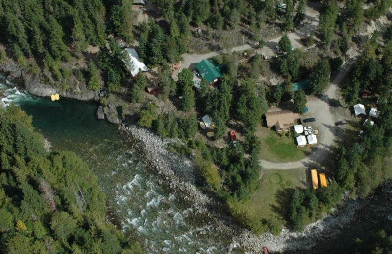 Aerial view of REO Rafting Resort.