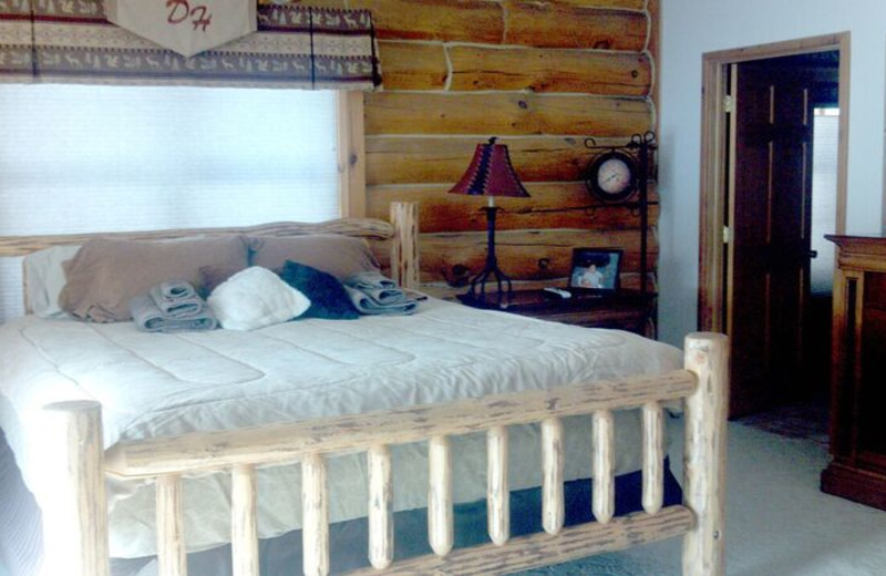 Cabin bedroom at Deer Haven Acres.