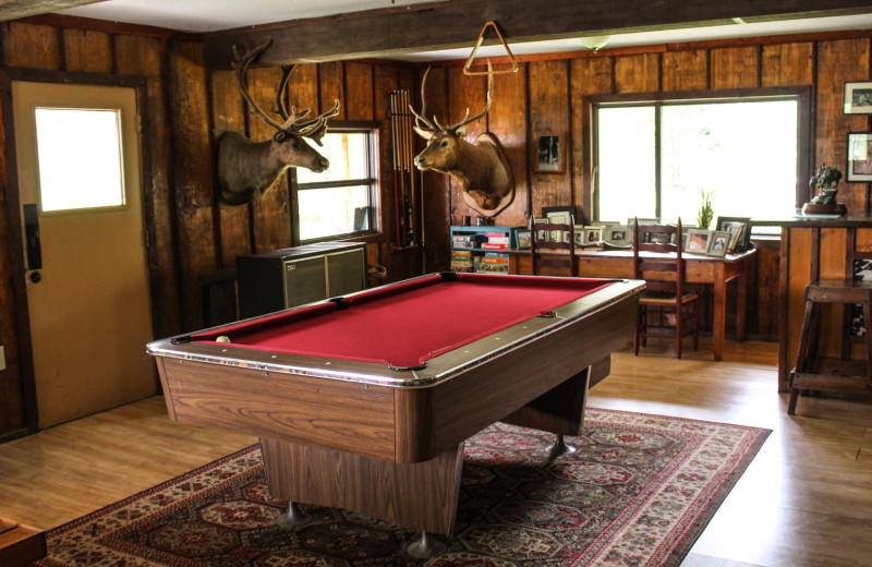 Billiard table at Bear Creek Ranch.
