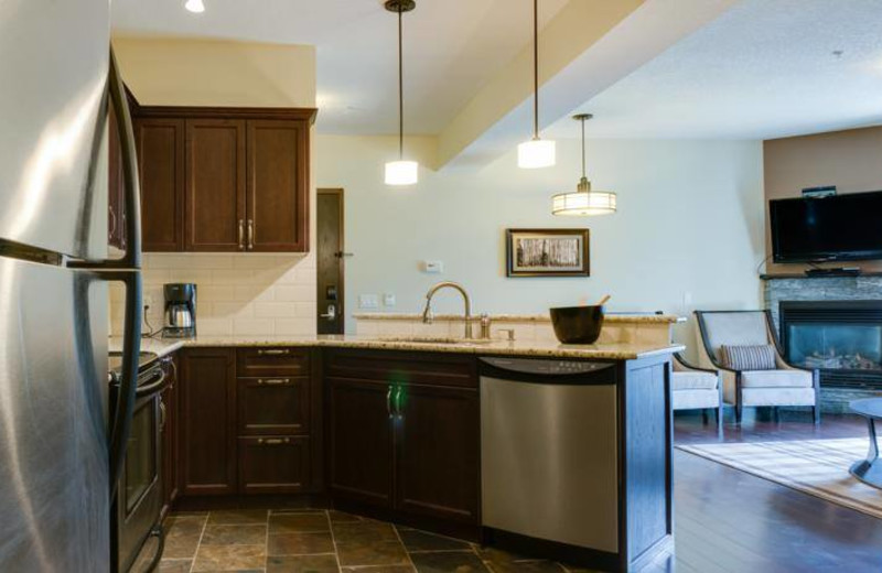 Guest kitchen at Grande Rockies Resort.