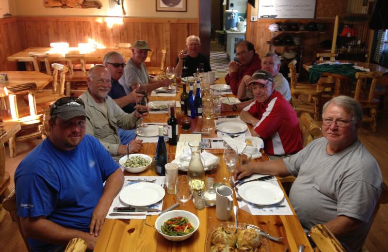 Dining at Maynard Lake Lodge and Outpost.