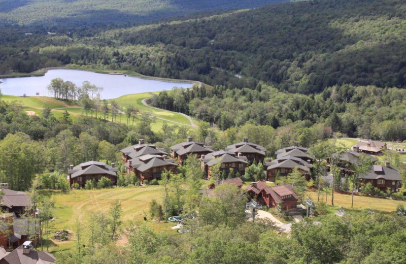Aerial view of Stowe Vacation Rentals & Property Management.
