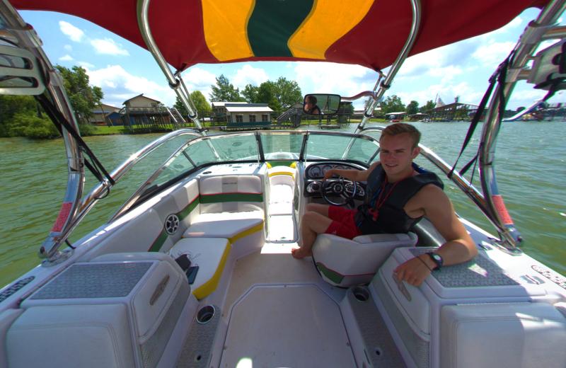 Boating at Camp Champions on Lake LBJ.