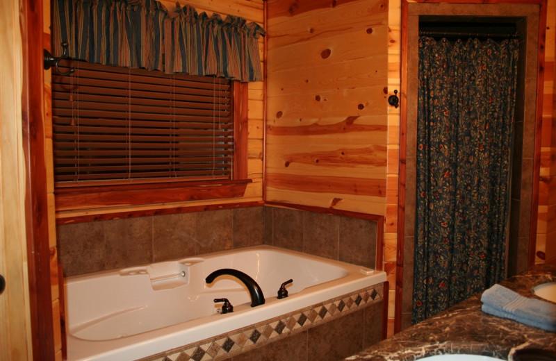 Cabin bathroom at Lake Mountain Cabins.