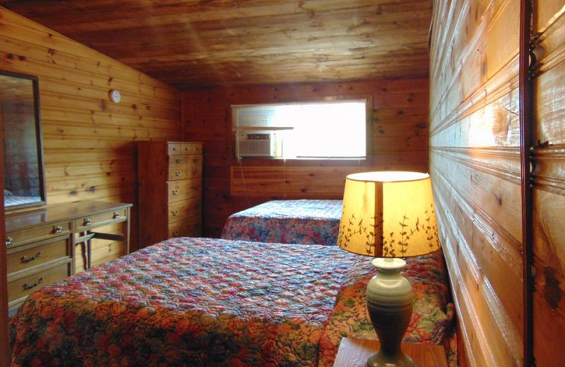 Cabin bedroom at The Depe Dene Resort.