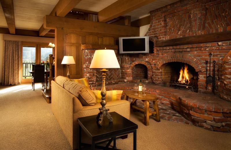 Lobby fireplace at Harvest Inn by Charlie Palmer.
