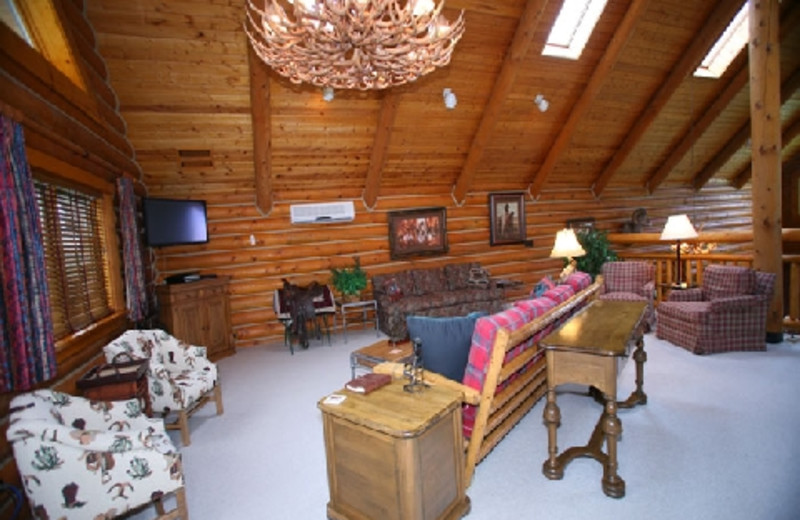 Living room area at The Hideout Lodge & Guest Ranch.
