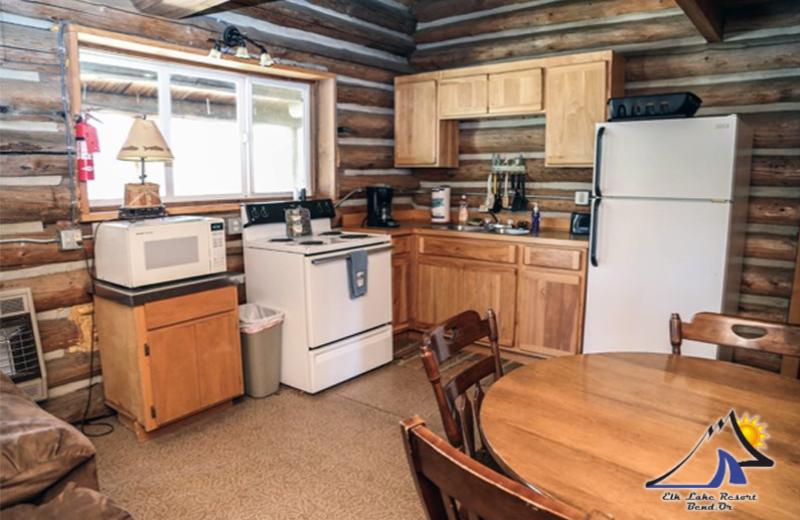 Cabin kitchen at Elk Lake Resort.