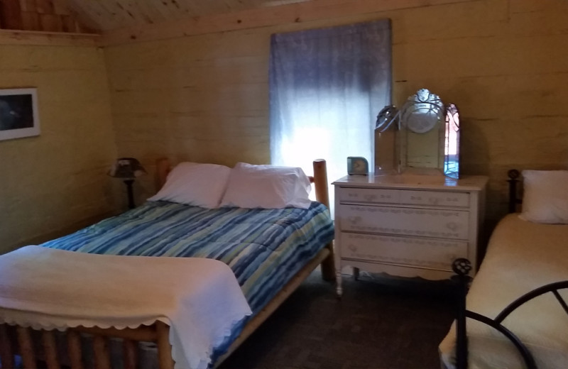 Cabin bedroom at Spooky Bay Resort.