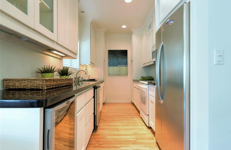 Rental kitchen at Padre Getaways.