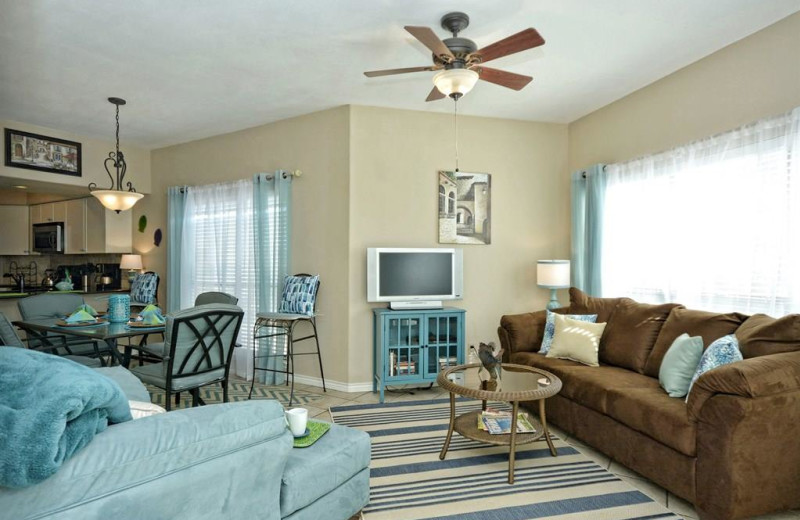 Rental living room at River City Resorts.