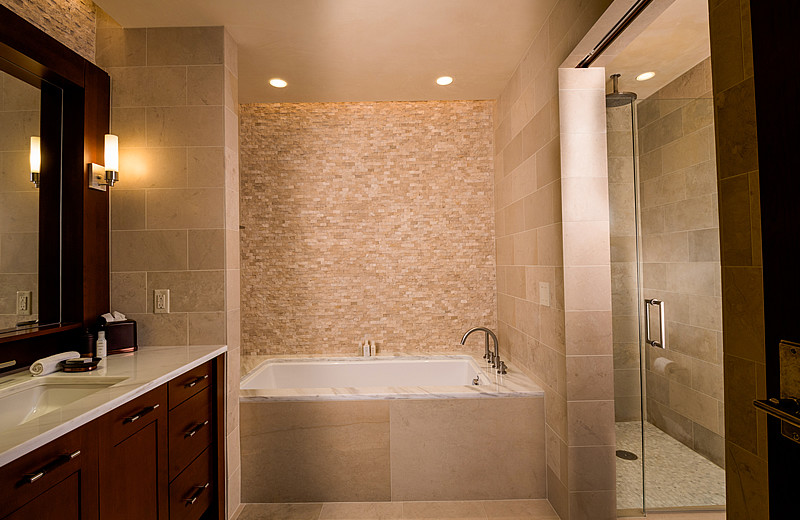 Guest bathroom at Solaris Residences.