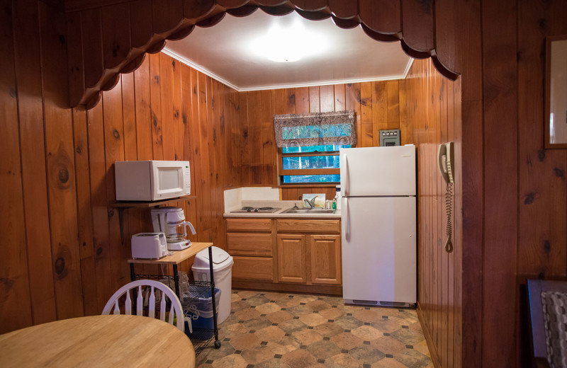 Cabin kitchen at Dunham's Bay Resort.