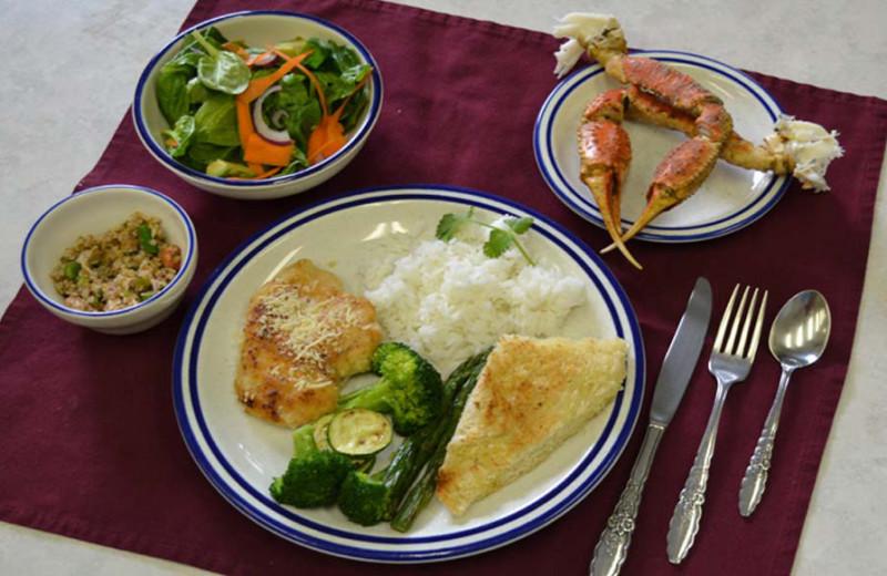 Dining at Zachar Bay Lodge.