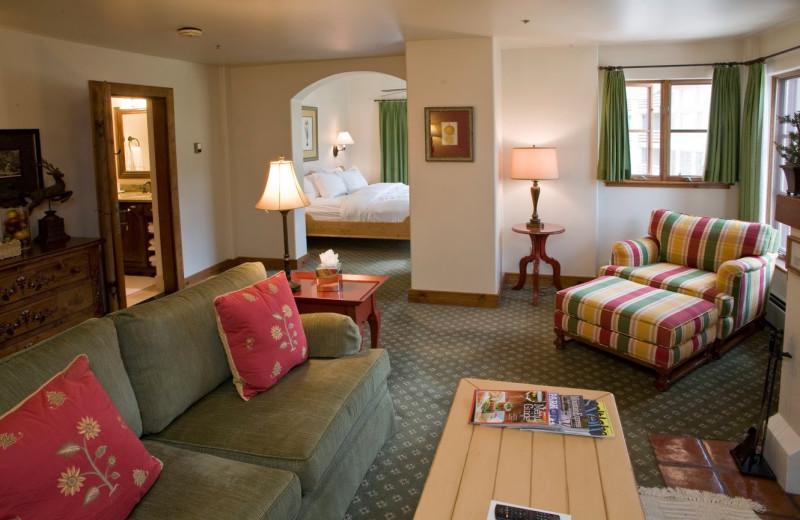 Guest room at Goldener Hirsch Inn.