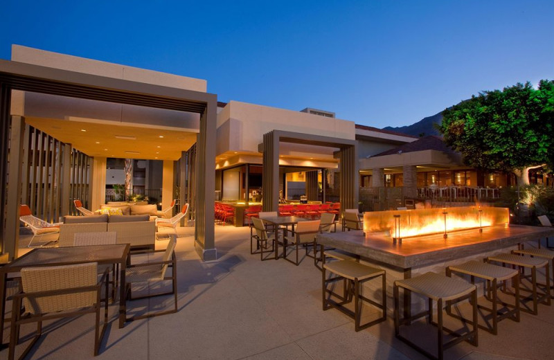 Outdoor patio at Hilton Palm Springs Resort.