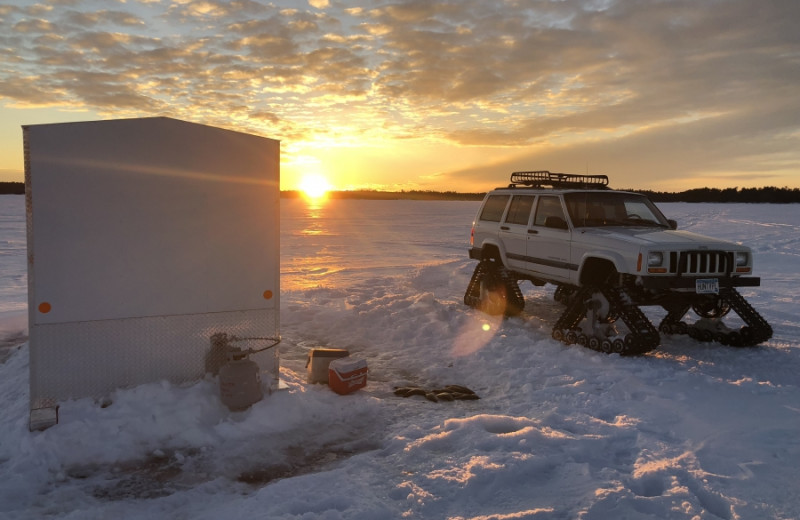 Ice fishing at Voyageur Park Lodge.