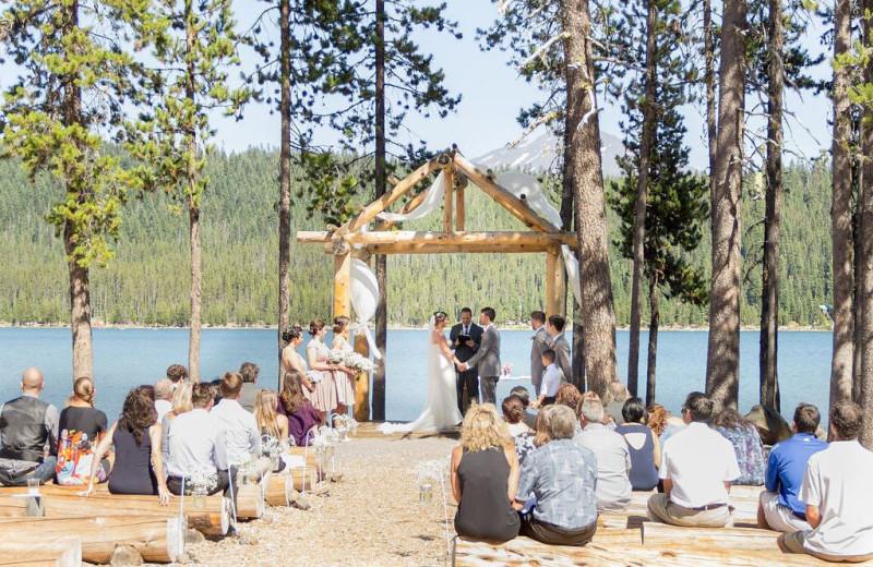 Wedding ceremony at Elk Lake Resort.
