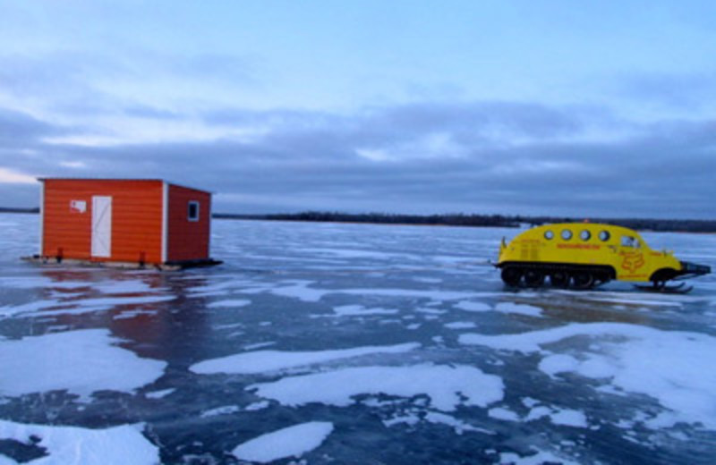 Ice fishing on Lake of the Woods at Angle Outpost Resort & Conference Center.