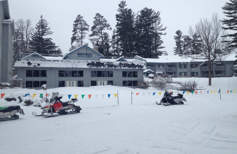 Snowmobiles at The Beacons of Minocqua.