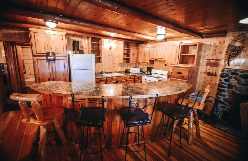 Cabin kitchen at Pine River Lodge.