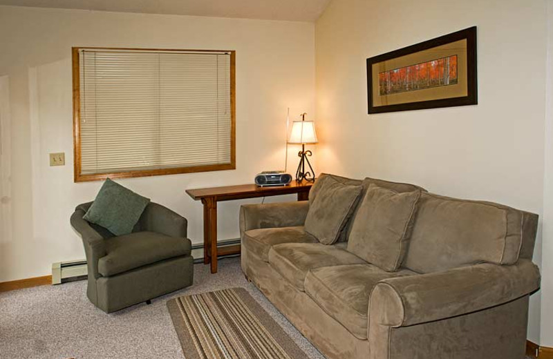 Suite living room at Woodlands On Fall River.