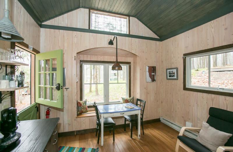 Tiny house interior at Blue Moon Rising.