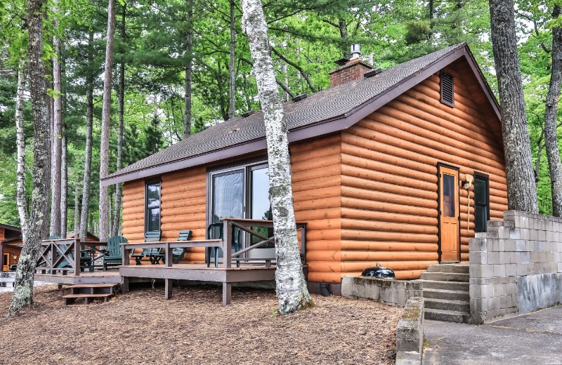 Cabin exterior at Serenity Bay Resort.