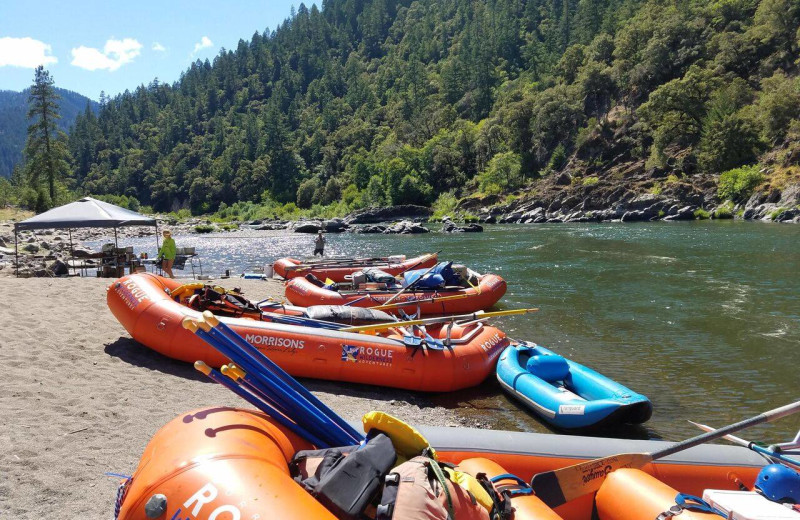 Rafts at Morrison's Rogue River Lodge.