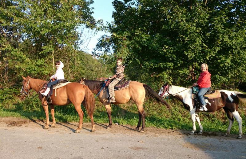 Horseback riding near Country Road Cabins.