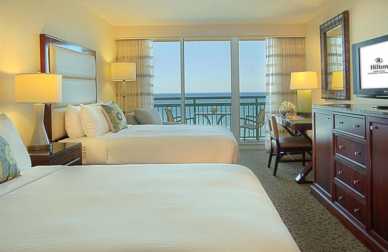 Guest bedroom at Hilton Singer Island Oceanfront Resort.