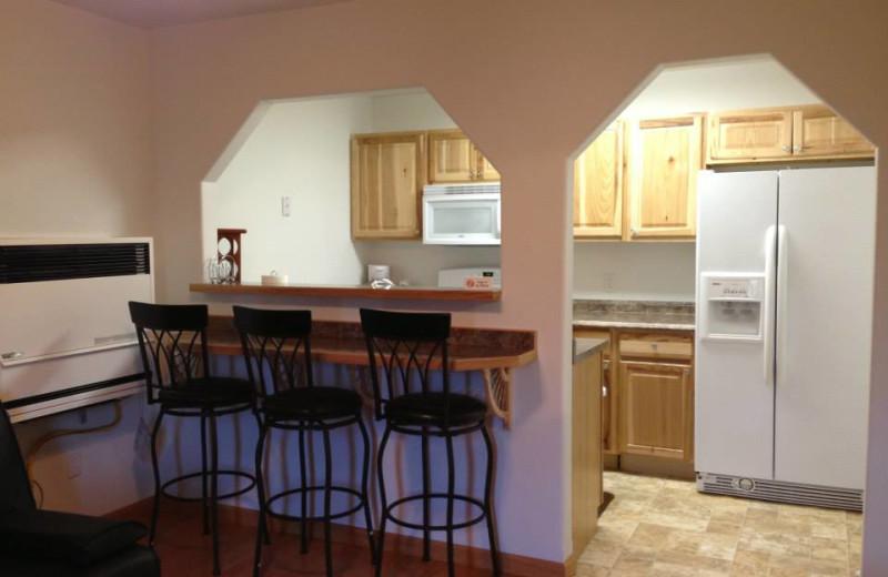 Cabin kitchen at Eagles' Rest Cabins.
