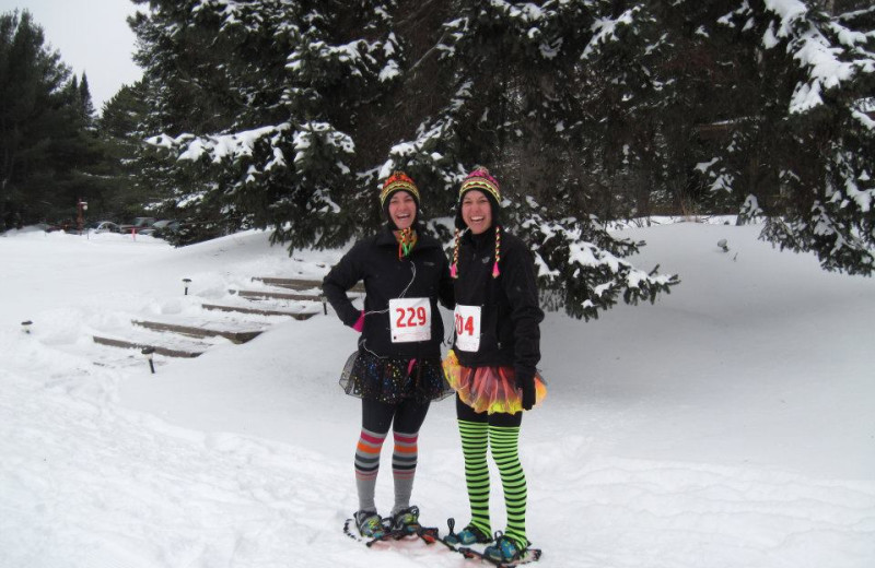 Snowshoeing at Holiday Acres Resort.