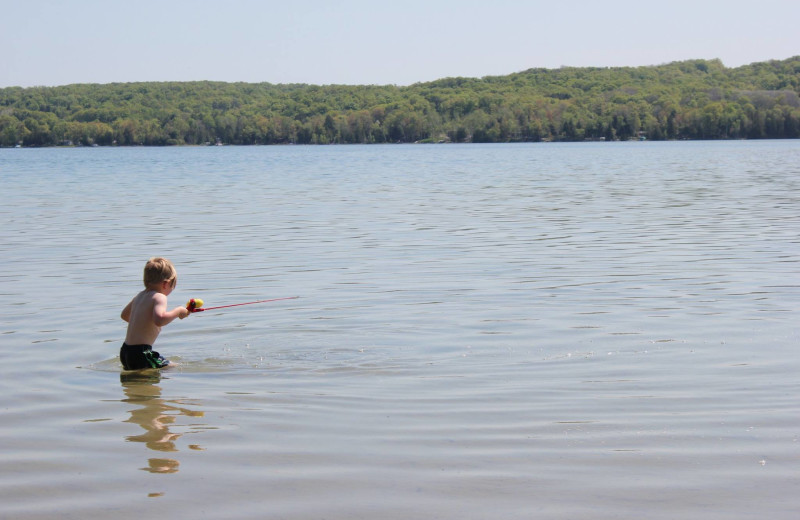 Lake swimming at Fisher's Lakeside Cottages.