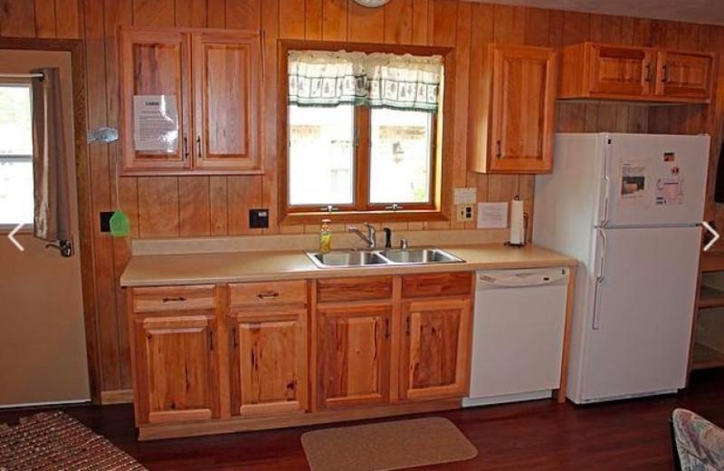 Cabin kitchen at Nitschke's Northern Resort.