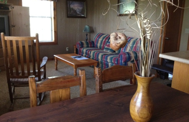 Cabin living room at Pine Lodge Cabins & Suites.