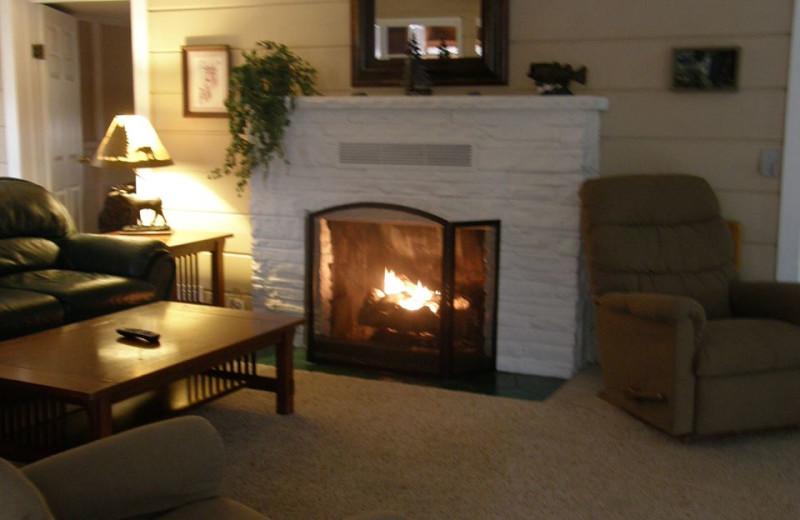 Cabin living room at Clear Lake Resort.