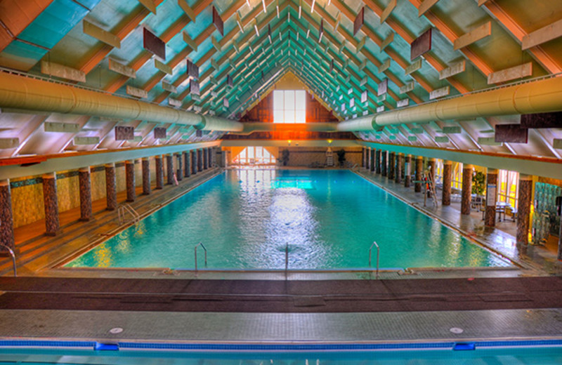 Indoor Olympic sized pool at Fairmont Hot Springs Resort.