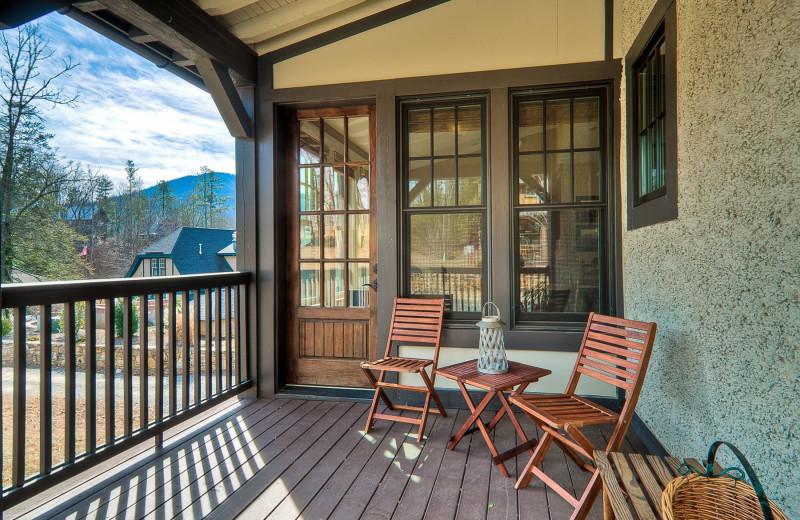 Porch view at  Greybeard Rentals.