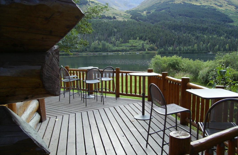 Deck at Summit Lake Lodge.
