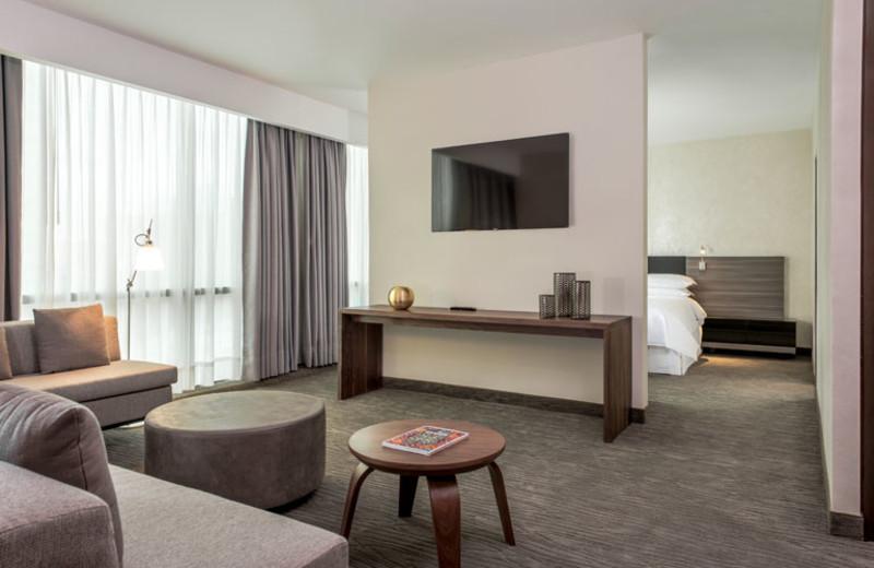 Guest room at Sheraton Ambassador Hotel.