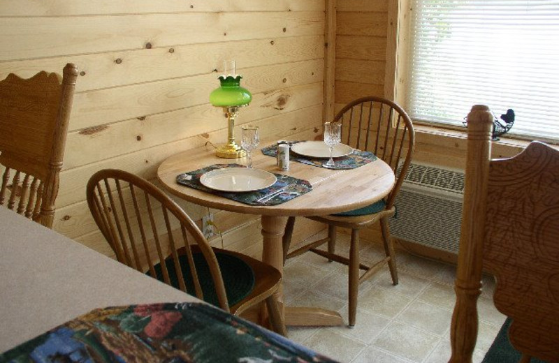 Cabin dining area at Silver Beach Resort.