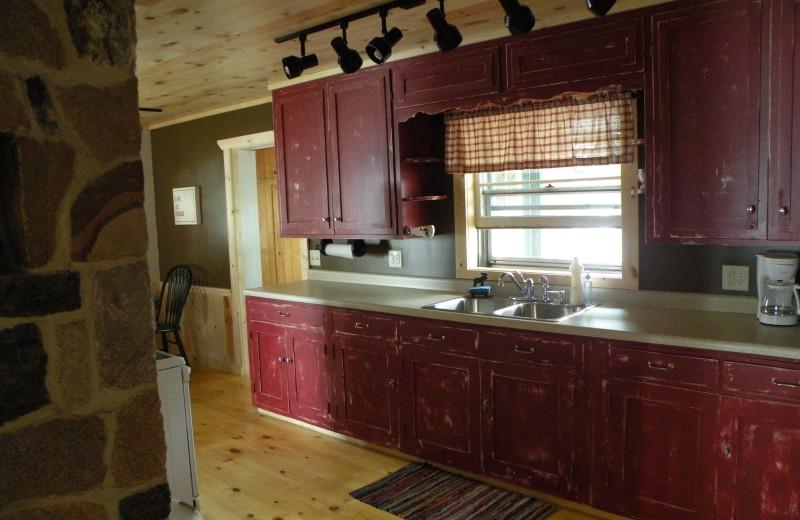 Cabin kitchen at Sams Island Cabin.