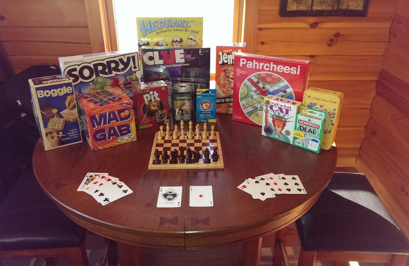Board games at The Lodge at Lane's End.
