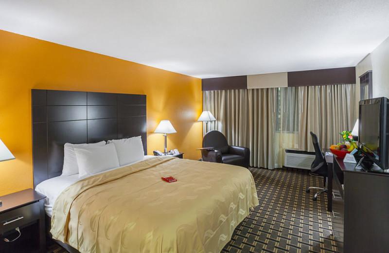 Guest room at Quality Inn & Suites Cincinnati Downtown.