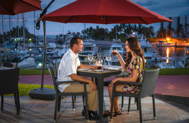Dining at  El Cid Marina Beach Hotel and Yacht Club.