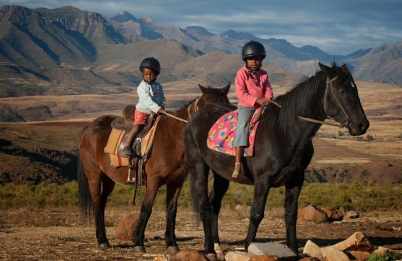 Horseback riding at Malealea Lodge.